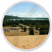 Glen Lake From The Dune Climb Round Beach Towel