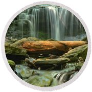Glen Leigh River Rocks And Falls Round Beach Towel