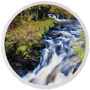 Glenbrittle Waterfall Round Beach Towel