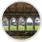 Glenluce Abbey - 4 Round Beach Towel