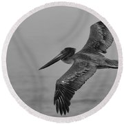 Gliding Pelican In Black And White Round Beach Towel