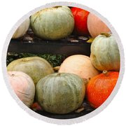 Glistening Gourds Round Beach Towel