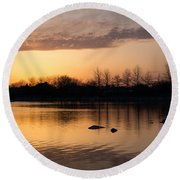 Gloaming - Subtle Pink Lavender And Orange At The Lake Round Beach Towel