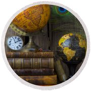 Globes And Old Books Round Beach Towel