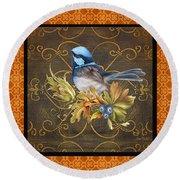 Glorious Birds-b2 Round Beach Towel