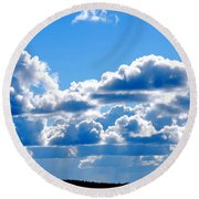 Glorious Clouds Round Beach Towel