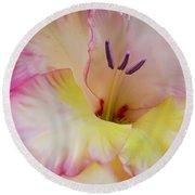 Glorious Gladiola Flower Round Beach Towel by Jennie Marie Schell