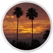 Glory Of Early Morning Round Beach Towel