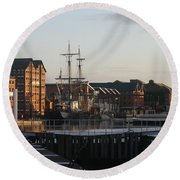 Gloucester Docks 3 Round Beach Towel