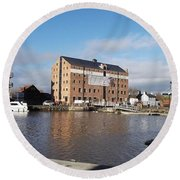 Gloucester Historic Docks 3 Round Beach Towel