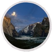 Glow - Moonrise Over Yosemite National Park. Round Beach Towel