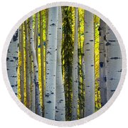 Glowing Aspens Round Beach Towel