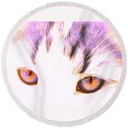 Glowing Cat Eyes Round Beach Towel