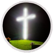 Glowing Cross Round Beach Towel