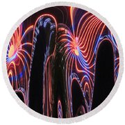 Glowing Curves Round Beach Towel