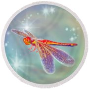 Glowing Dragonfly Round Beach Towel