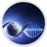 Glowing Earth Dna Strand Round Beach Towel