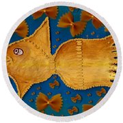 Glowing  Gold Fish Round Beach Towel
