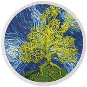 Glowing In The Balance Round Beach Towel