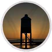 Glowing Lighthouse Round Beach Towel by Anne Gilbert