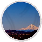 Glowing Mt Hood Round Beach Towel