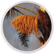 Glowing Palm Blossoms Round Beach Towel