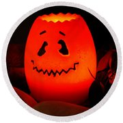 Glowing Pumpkin Round Beach Towel