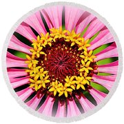Glowing Zinnia By Kaye Menner Round Beach Towel