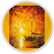 Glows Of Passion - Palette Knife Oil Painting On Canvas By Leonid Afremov Round Beach Towel