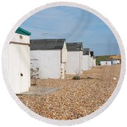 Glyne Gap Beach Huts In Sussex Round Beach Towel