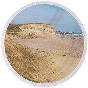 Glyne Gap Cliffs In Sussex Round Beach Towel