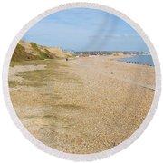 Glyne Gap Coast In England Round Beach Towel