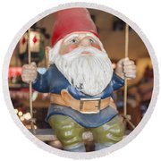 Gnome On A Swing 2 Round Beach Towel