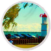 Go Fly A Kite Off A Short Pier Lachine Lighthouse Summer Scene Carole Spandau Montreal Art  Round Beach Towel