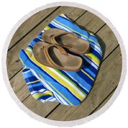Go Jump In The Lake Round Beach Towel