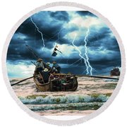 Go Though The Storm Round Beach Towel