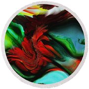 Go With The Flow Abstract Round Beach Towel