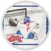 Goalie By Jrr Round Beach Towel