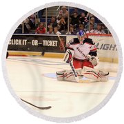 Goalie Protects Round Beach Towel