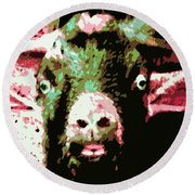 Goat Abstract Round Beach Towel