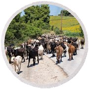 Goat Herd Round Beach Towel