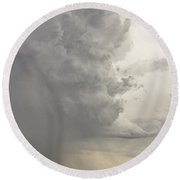 Gobbled Up By A Storm Round Beach Towel