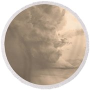 Gobbled Up By A Storm  Sepia Round Beach Towel