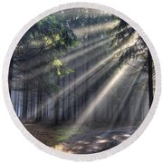 God Beams - Coniferous Forest In Fog Round Beach Towel