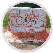 God Hates Ohio Round Beach Towel