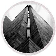 Goddard Stair Tower - Black And White Round Beach Towel
