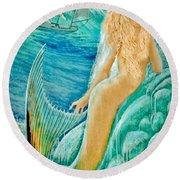 Goddess Atargatis 1000 Bc Round Beach Towel