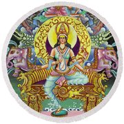 Goddess Of Asia Round Beach Towel