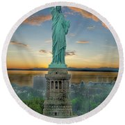 Goddess Of Freedom Round Beach Towel by Gary Keesler