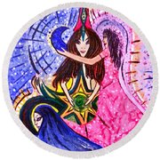 Goddess Trinity Round Beach Towel